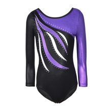 One-piece Long Sleeve Striped Sparkle Athletic Gymnastics Co