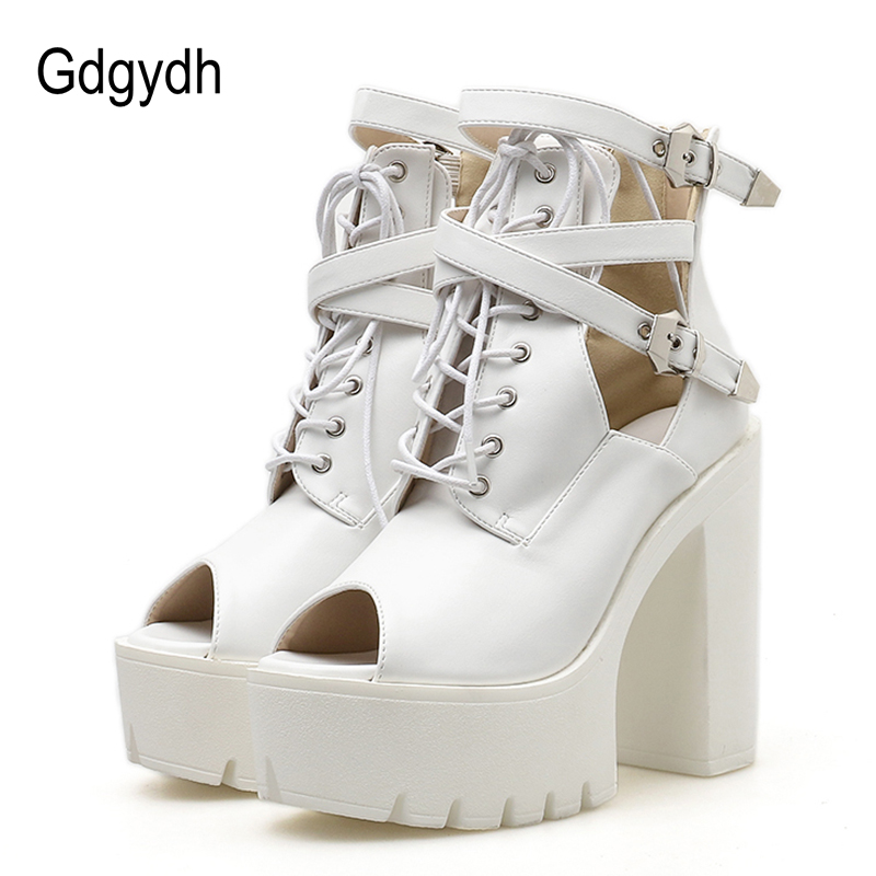 Gdgydh 2018 New Spring Platform Heels Autumn Women Pumps Peep Toe High Heels Women Shoes Lace Up Ladies Casual Shoes Size 35-40 annymoli platform high heels lace up wedge shoes ladies pumps pointed toe lace up increasing heels shoes black white size 34 39