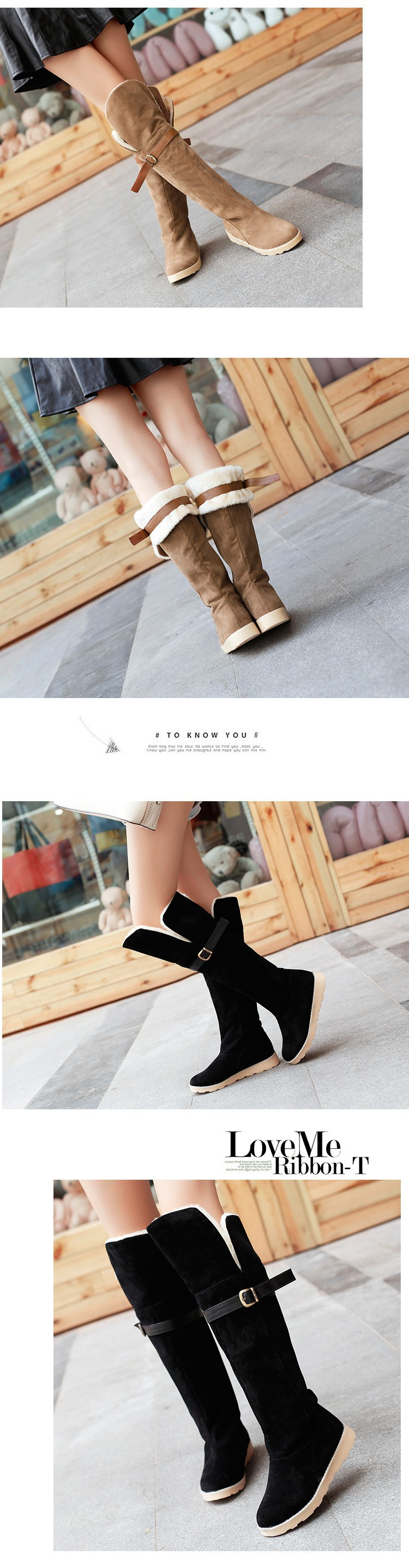 2015 Hot Sale Winter Boots Warm Snow Boots For Women Fashion Flat Heels Knee-High Botas Mujer Casual Women Shoes BT4 (3)