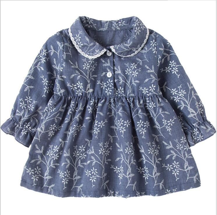 Baby Infant Floral Dress Spring Clothing For Girls Summer Boho Print Beach Floral Dress Princess Kids Long Sleeve Tunic Dresses bikini boho swimwear arab print silky comfortable round beach kimono tunic towel scarf