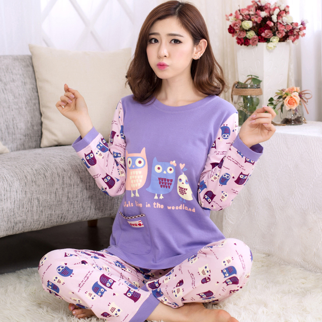 Women Cotton Pajamas Owl Cartoon Sleepwear Sets Soft Pajamas Women Long  sleeve Nightgown Fashion Style Pajamas Sets New b22773000