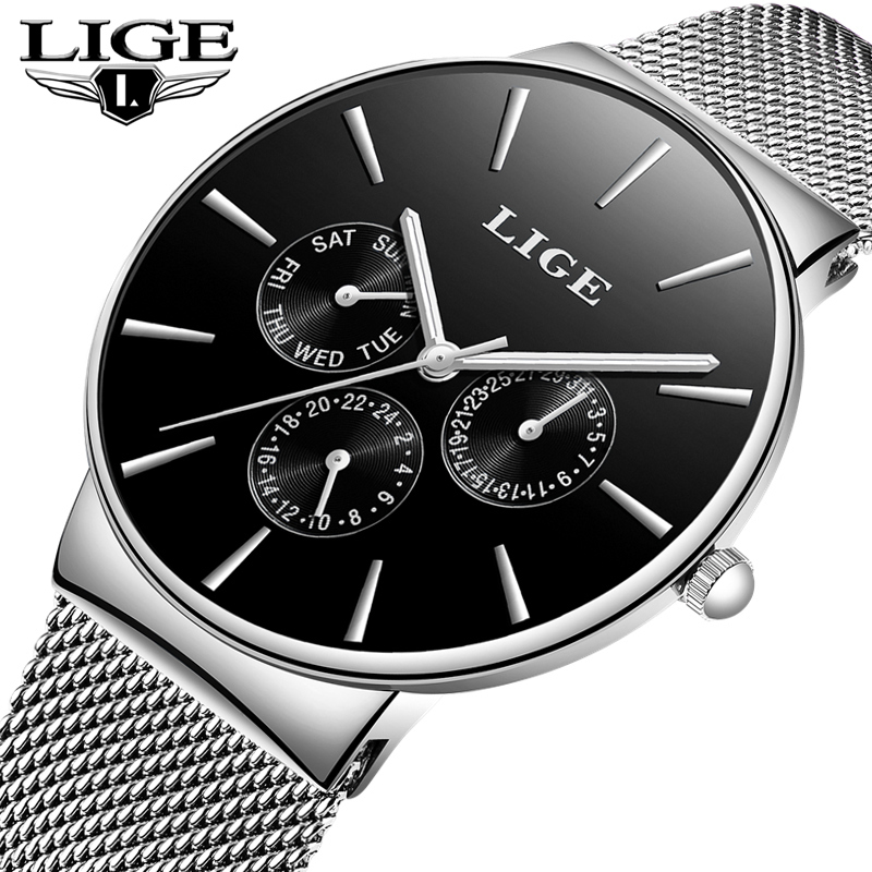 LIGE Fashion Ultra Thin Sports Mens Watches Top Brand Luxury Casual Quartz Watch Men Business Waterproof Watch Relogio Masculino
