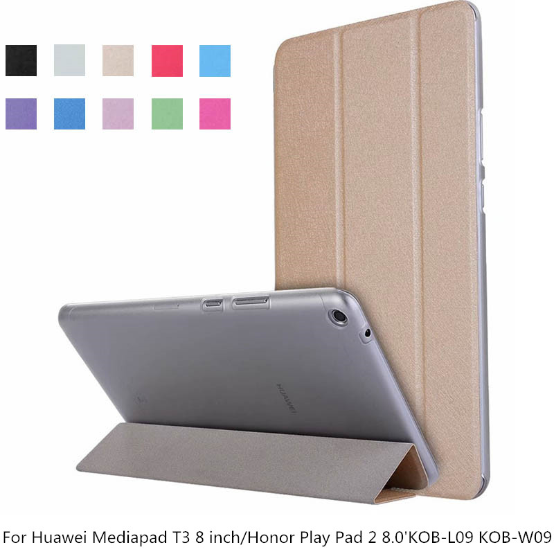 Transparent PU Leather Tablet For Huawei Mediapad T3 8 Stand Flip Leather Cover Case For Honor Play Pad 2 8.0KOB-L09 KOB-W09Transparent PU Leather Tablet For Huawei Mediapad T3 8 Stand Flip Leather Cover Case For Honor Play Pad 2 8.0KOB-L09 KOB-W09