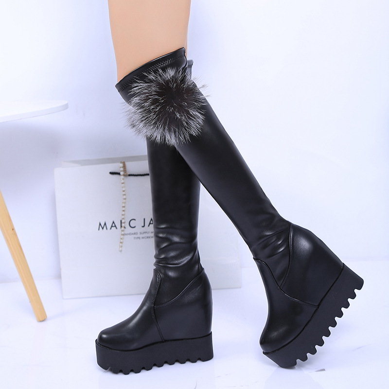 2017 autumn and winter new thick inside the knee over the knee boots stovepipe stretch boots thin slender women boots tide static stretch and hold relax techniques over hamstring