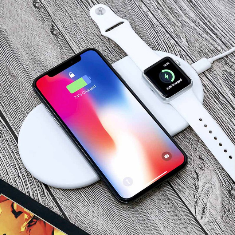 Qi Wireless Charger Fast Wireless Charging Pad For iPhone 8/ X Samsung S9/S9+ For Apple Watch Airpower