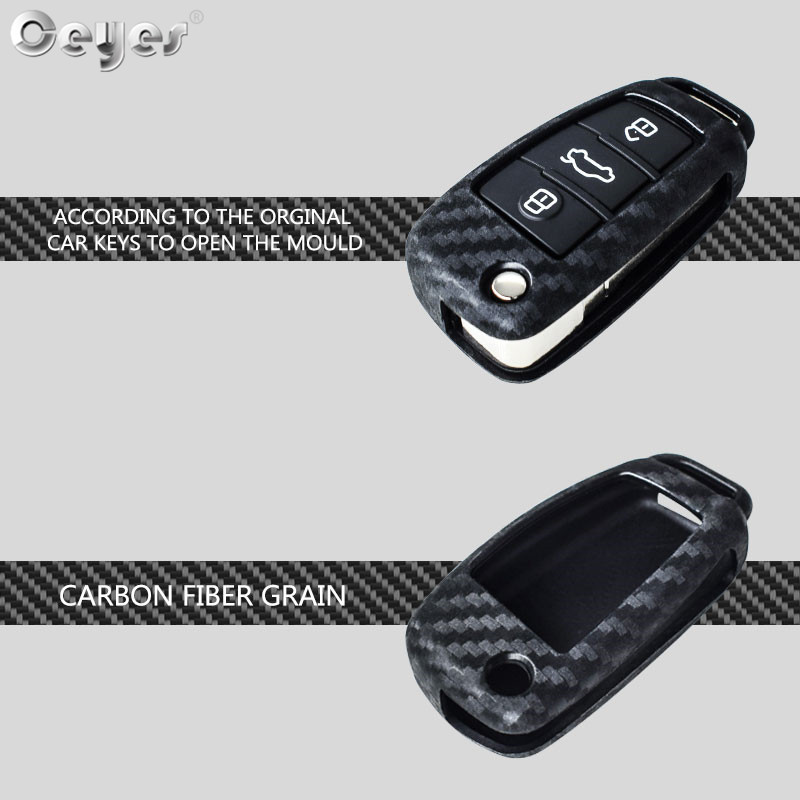 Image 2 - Ceyes Car Styling Auto Fold Carbon Fiber Grain Shell Protection Cover Case For Audi A3 A4 TT A4L A6L Q7 Q5 A5 A7 Car Accessories-in Car Stickers from Automobiles & Motorcycles