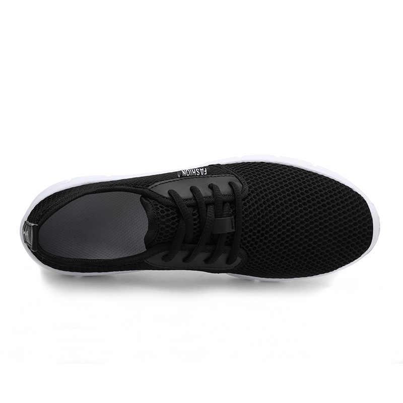 Тренд 2019, летние кроссовки, Мужская дышащая повседневная обувь, мужские Модные мужские кроссовки, супер удобная мужская обувь на шнуровке, большие размеры