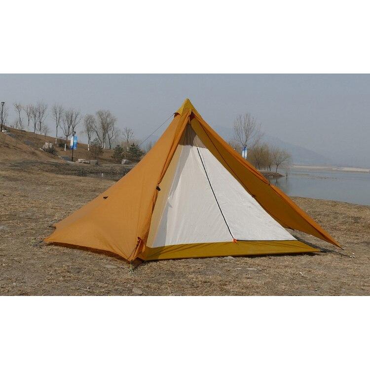 Camping Tente Intérieure Ultralight 3-4 Personne Extérieure 20D Nylon Côtés Revêtement De Silicium Pyramide Grande Tente de Camping 4 Saisons