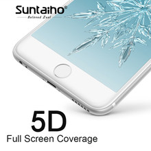 Suntaiho 5D Cold Carving Full Cover Tempered Glass For iPhone 7/8 plus 9H 3D/4D Curved Edge Screen Protector For iPhone 6s plus(China)