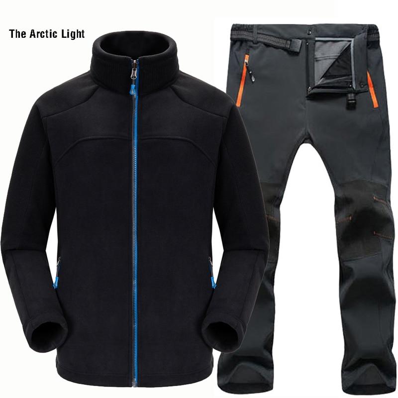THE ARCTIC LIGHT Man Sports Fleece Jacket+Soft shell Trouser Winter Waterproof Warmth Trekking Hiking Fishing Outdoor Set