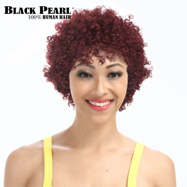 Black Pearl Short Curly Hair Wine Red Wigs For Black Women Remy Hair