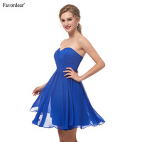 Favodear 2019 New Arrival Short Homecoming Dress Cocktail kleider 100% Real Royal Navy Blue Sweetheart Pleated Party Dresses
