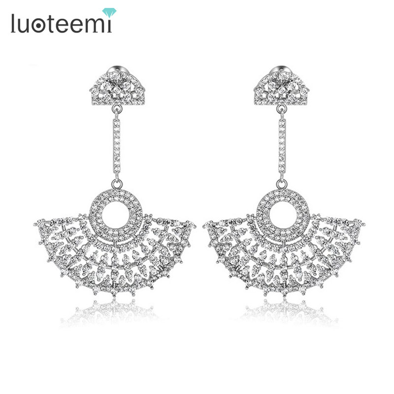 LUOTEEMI Newest Elegant Luxurious Big Dangle Micro Paved