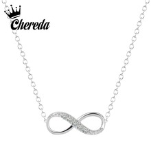 Chereda Gold Silver Plated Tiny Infinity Pendant Necklace Lovely Promise Symbol Charm for Women Best Necklaces Gift tiny skull necklace dainty layering delicate charm gold rose gold or silver plated mini skull pendant
