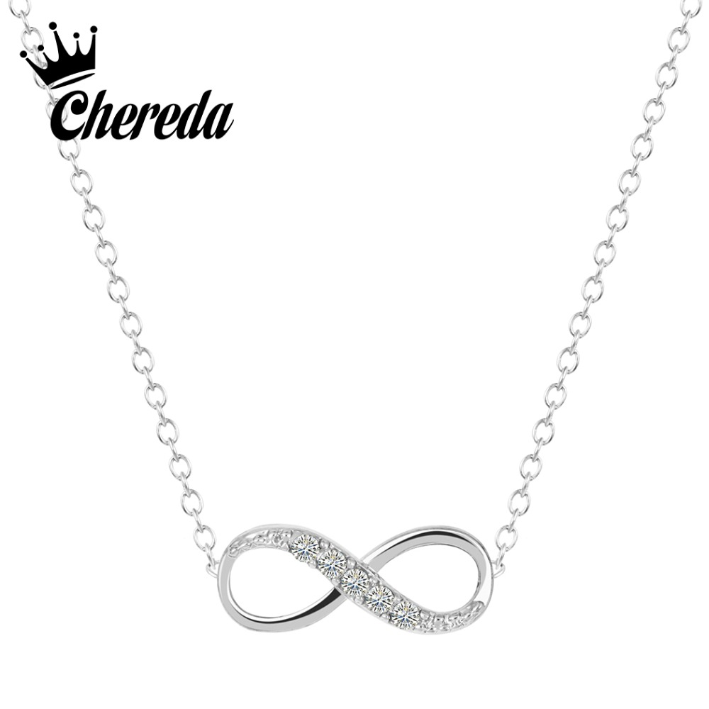 Chereda Gold Silver Plated Tiny Infinity Pendant Necklace Lovely Promise Symbol Charm for Women Best Necklaces Gift