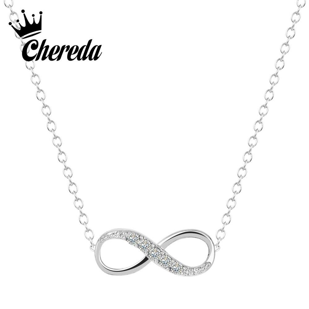 Chereda золото покрытый серебром крошечный ожерелье с кулоном «бесконечность», очаровательное обещающее ожерелье для женщин, лучший подарок