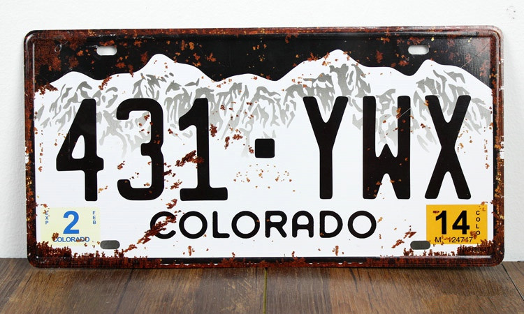 UA-CP-00162 vintage metal tin signs License car number 431-YWX COLORADO  cafe pub wall art craft decor painting 30*15 CM
