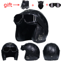 Retro Motorcycle Leather 3/4 Open Face Motorcycle Helmet Cafe Harley Cruiser Chopper Scooter Helmet capacetesDOT Approved