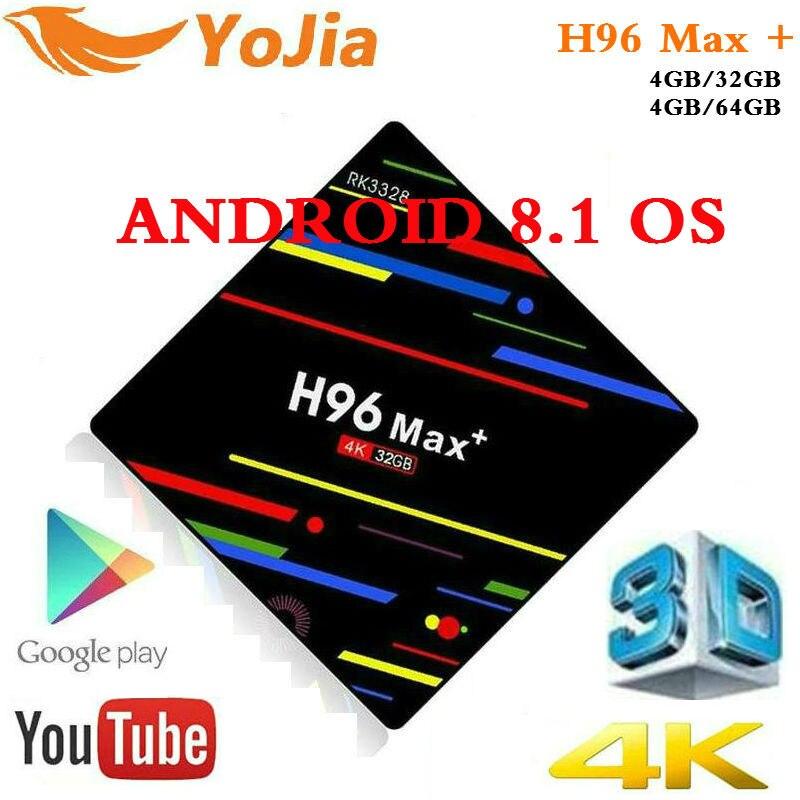 4 GB di RAM 64 GB 4 K Smart TV Box Android 8.1 H96 MAX Plus RK3328 Set top box 2.4 g/5G Dual WIFI BT H96Max + Media player pk T9 TVBOX