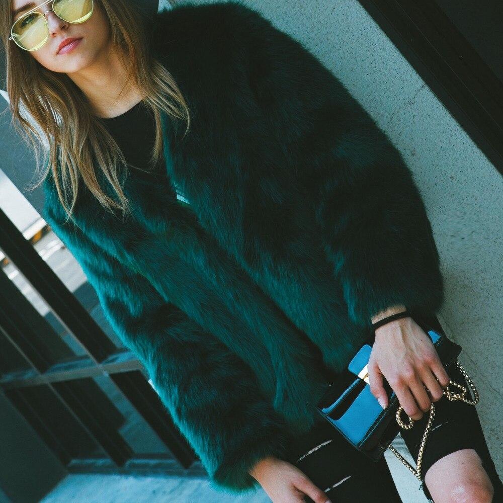 2018 automne hiver femmes moelleux Faux renard fourrure manteaux et vestes dame court vert foncé fourrure Faux survêtement décontracté fête pardessus