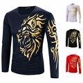 2016 Autumn Men's Casual Slim Streetwear Fit Crew-neck Long Sleeve Tattoo Style Golden Tiger Print Tee T-shirt Tops 21
