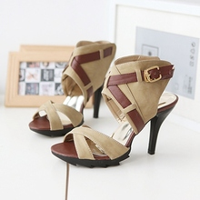 Customized Large Size 40 41 42 43 Peep Toe Belt Buckle Black Apricot 9 CM Thin High-heeled Sandals For Women Discount Sale Shoes