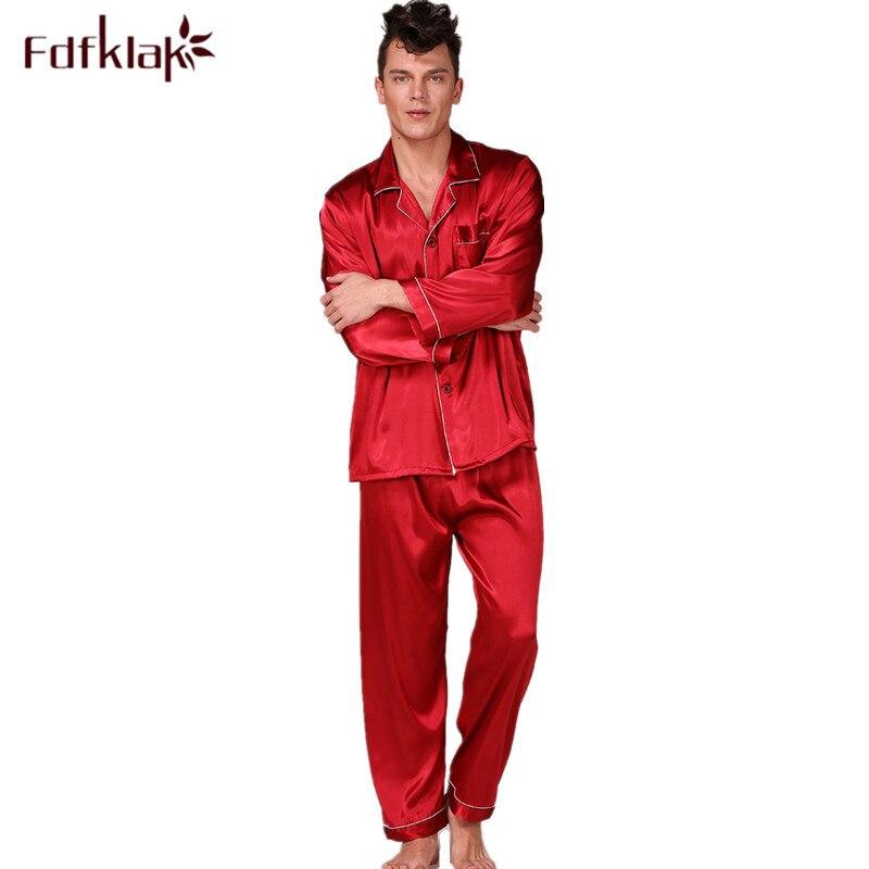 L-3XL Plus Size Men Pajamas Set Long Sleeve Silk Sleepwear Pyjama Spring Autumn Men's Nightwear Home Clothes Pijama Hombre