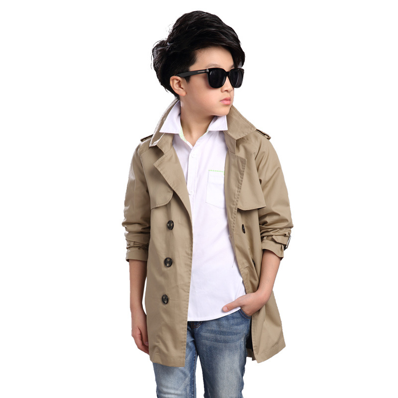 Spring Long Boy Trench Coat 2018 Teenager Boy Outerwear Double-breasted Kids Windbreaker Solid Boys Children Trench Coat 4-16Y