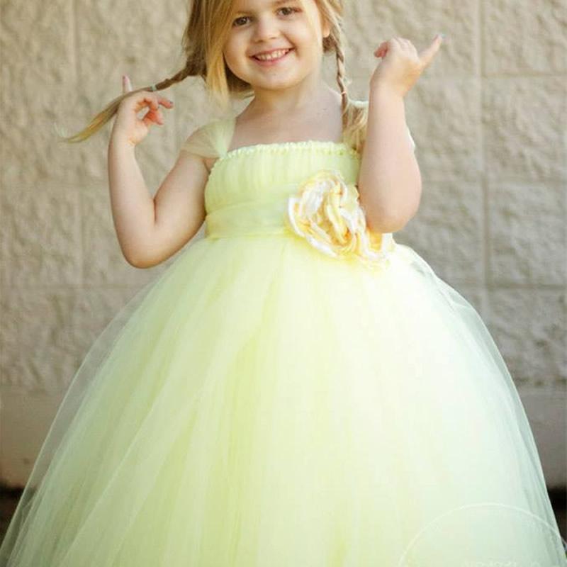 ФОТО 2017 Top quality Princess European version Flower Girl Dresses Yellow Flower 2-12Y Cute Draped Ball Gown Evening Dress Kids Prom