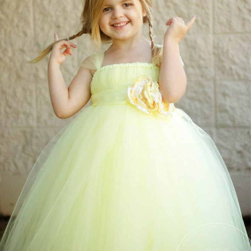 2018 Top quality Princess European version Flower Girl Dresses Yellow Flower 2-12Y Cute Draped Ball Gown Evening Dress Kids Prom 2018 top quality and noble flower girl dresses calcined flower flower 2 12year pretty draped ball gown evening dress kids prom