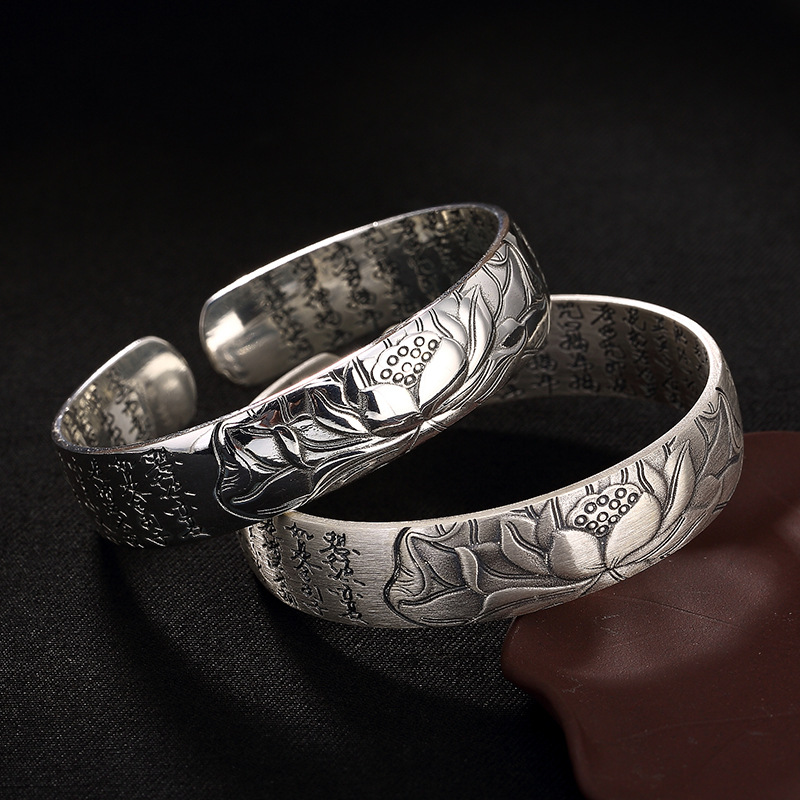 2018 Sale Antique, Smooth, Matte, Lotus, Heart, Bracelet, High Grade Sterling Silver, Women's Opening, Hand Rings Wholesale.
