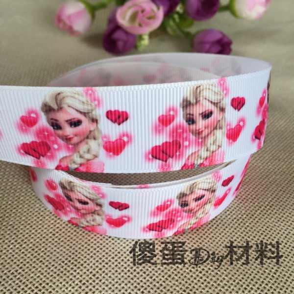 "1 ""25MM new sales 5 yard princess elsa printed grosgrain ribbons cartoon ribbon diy hair bows Party supplies ribbon material"