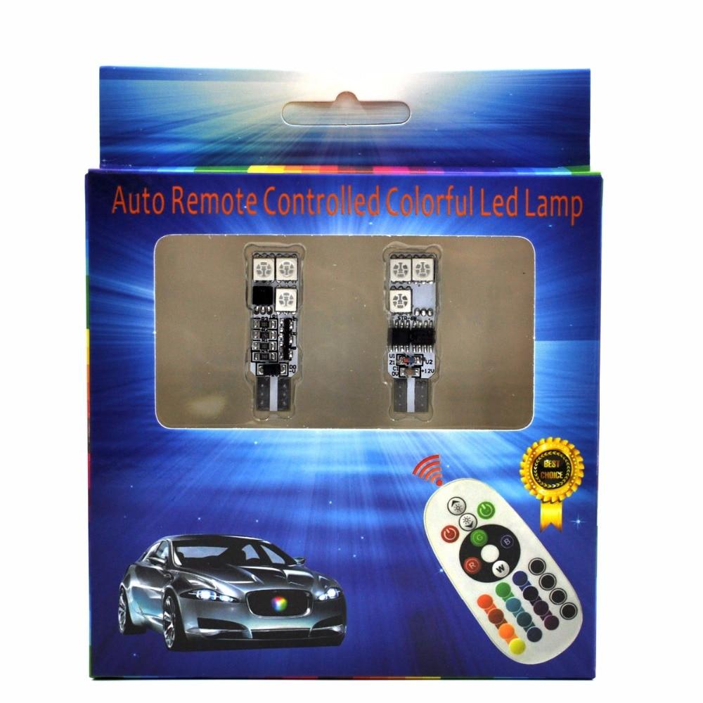AutoEC 1 készlet T10 194 w5w RGB 5050 6 SMD többszínű LED-es - Autó világítás - Fénykép 2