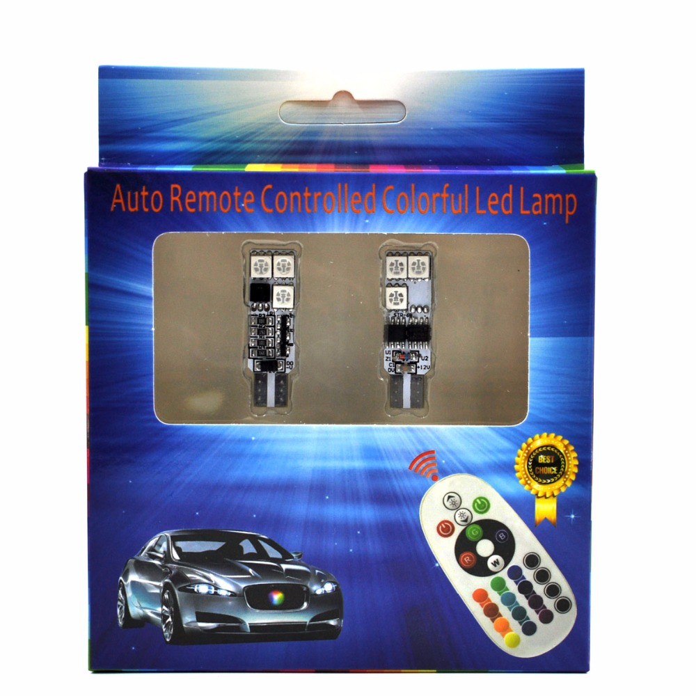 AutoEC 1 комплект T10 194 w5w RGB 5050 6 SMD - Автомобилни светлини - Снимка 2