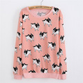 2016 new thin style hoodies women's both side print cute animal dog/watermelon/ice cream sweatshirts cotton sweatshirt
