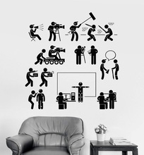 Vinyl wall decal cinema film crew filming movie mural stickers, home director, company decoration stickers  DY10