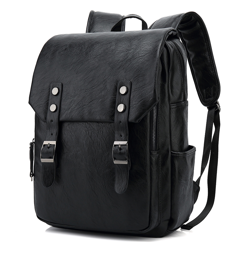 Leather School Backpack Bags For College Mochila Man Simple Design laptop backpack Men Casual Daypacks mochila male New SJB3