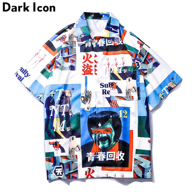 Dark Icon Vintage Street Shirt Men 2019 Summer Turn-down Collar Retro Hip Hop Shirt Front Short Back Long Men's Shirt Male Top