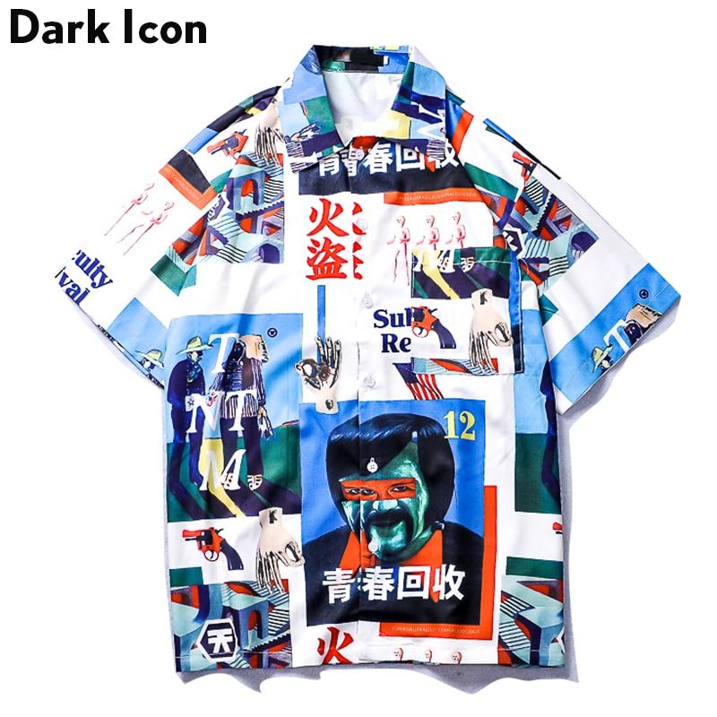 Dark Icon Vintage Street Shirt Men 2019 Summer Turn-down Collar Retro Hip Hop Shirt Front Short Back Long Men's Shirt Male Top