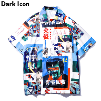 Dark Icon Vintage Street Shirt Men 2019 Summer Turn-down Collar Retro Hip Hop Shirt Front Short Back Long Men's Shirt Male Top stylish flags and newspaper print soft bandana scarf for women