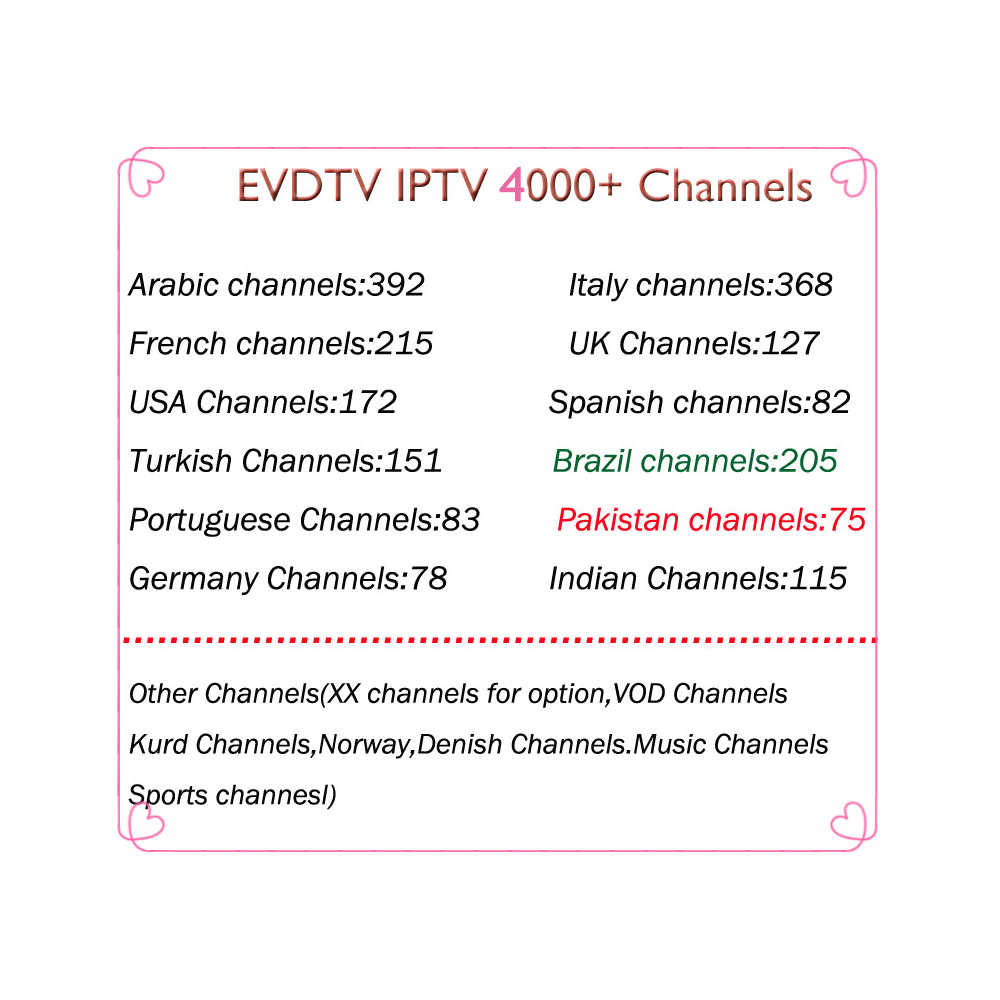 IPTV 4000+ channels EVDTV IPTV subscription Europe Spain Sweden Arabic  French Italy Norway Saudi Arabia M3U Smart TV Mag tv box