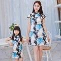 2017 nuevo vestido de la madre y la hija de la familia conjunto de flores slim fit cheongsam chino vestido de las mujeres vestidos de ropa vintage para gitls