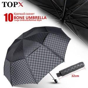 Image 1 - Double Layer Big Umbrella Rain Women Men 3Folding 10K Windproof Business Umbrellas Male Dark Grid Parasol Family Travel Paraguas