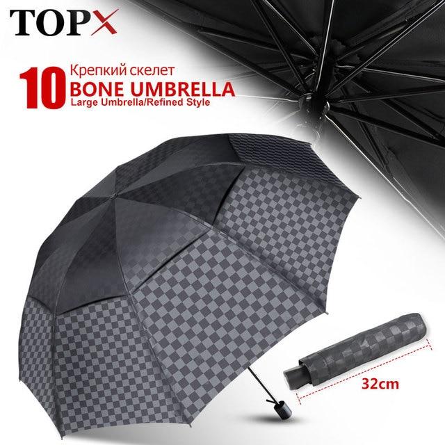 Double Layer Big Umbrella Rain Women Men 3Folding 10K Windproof Business Umbrellas Male Dark Grid Parasol Family Travel Paraguas
