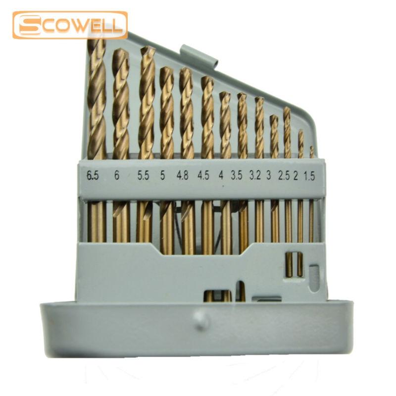 30% kedvezmény SCOWELL 13 darabos HCO M35 kobalt 5% -os csavarfúrók rozsdamentes acélból készült fúrókészlethez 1,5 mm-6,5 mm-ig, DIN338 hasított hegyes fúrók