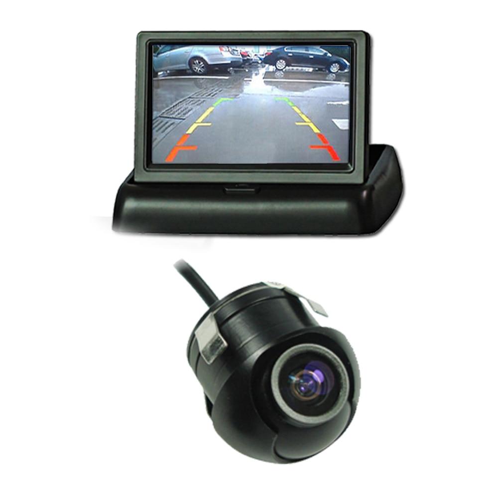 Fácil instalación CCD cámara de 360 grados 4.3 Rearview Parking Monitor Plegado plegable Pantalla de video TFT LCD retrovisor cámara de reversa