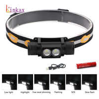 6 Modes L2 LED Headlight Mini White Light Head Lamp Flashlight 18650 Battery Headlamp For Camping Fishing Hunting Light