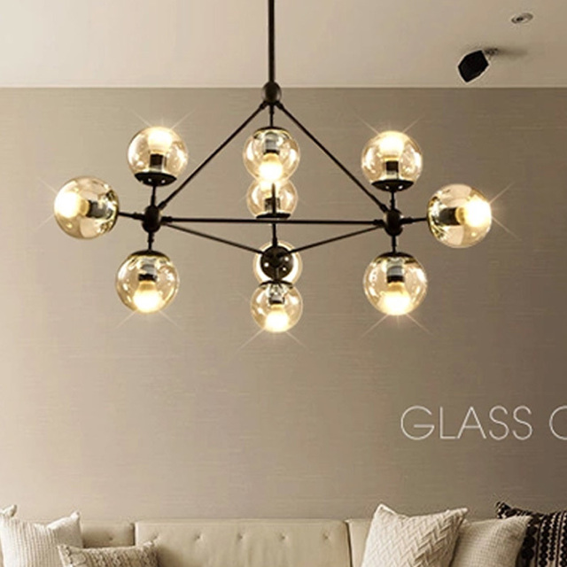 Hot S Modern Art Deco Lving Room Pendant Lights Iron Frame With Clear Amber