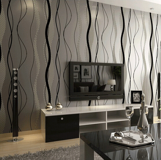 Aliexpress Buy Wallpaper Stripes Waterproof Modern Dark Grey Wall Paper For Living Room Beige Bed From Reliable Suppliers On ELLEN