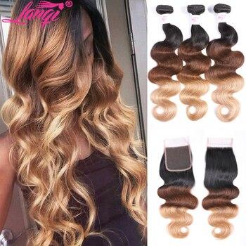 Brazilian Body Wave Hair Bundles With Closure non remy Blonde bundles with closure 1B/4/30 Human Hair Ombre Bundles With Closure